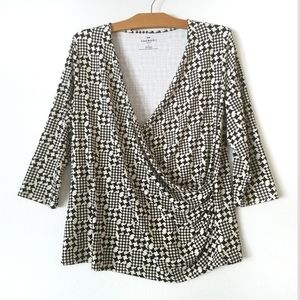 Talbots black white faux wrap v-neck ruched top